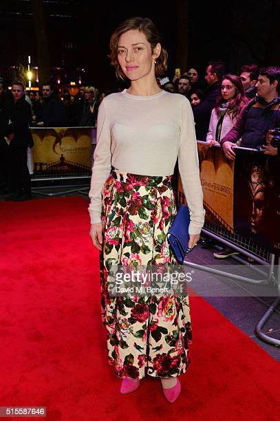 Camilla Rutherford arrives for a Gala Screening of 'Game of Thrones' Season 5 Episode 8 'Hardhome' at Empire Leicester Square on March 14 2016 in...