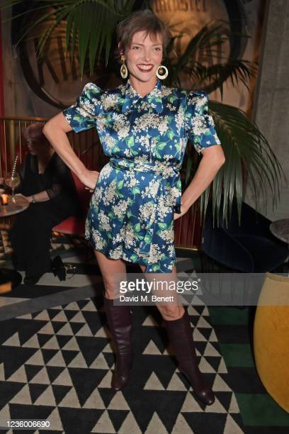 """Camilla Rutherford attends a drinks reception ahead of a special screening of """"Quant"""" at The Everyman Chelsea on October 20, 2021 in London, England."""
