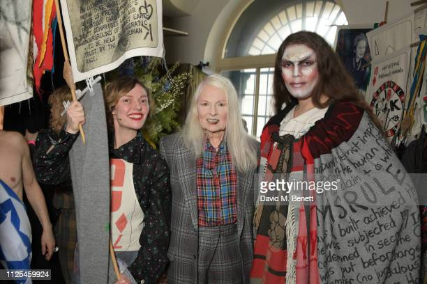 Camilla Rutherford Dame Vivienne Westwood and Daniel Lismore pose backstage at the Vivienne Westwood show during London Fashion Week February 2019 on...