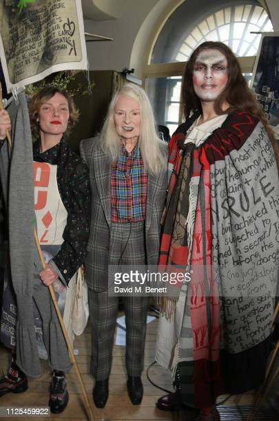 Camilla Rutherford Dame Vivienne Westwood and Jodie Harsh pose backstage at the Vivienne Westwood show during London Fashion Week February 2019 on...