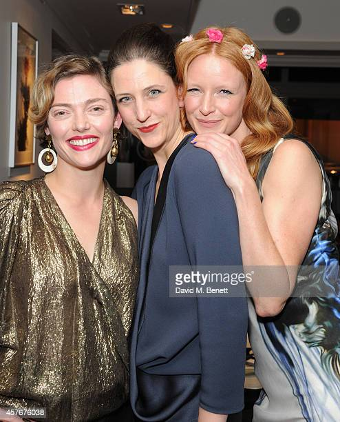 Camilla Rutherford Maria Grachvogel and Olivia Inge attends a private dinner hosted by designer Maria Grachvogel at Salmontini on October 22 2014 in...
