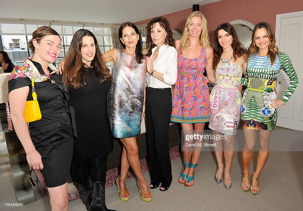 Camilla Rutherford, Mary Katrantzou, Yasmin Mills, Marie Helvin, Jodie Kidd, Lara Bohinc and Maria Hatzistefanis attend Mary Katrantzou for Rodial candle launch party at Soho Hotel on July 8, 2013 in London, England.