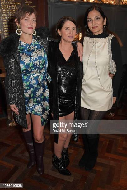 """Camilla Rutherford, Sadie Frost and Yasmin Mills attend the after party for Sadie Frost's """"Quant"""" at The Chelsea Pig by Timothy Oulton on October 20,..."""