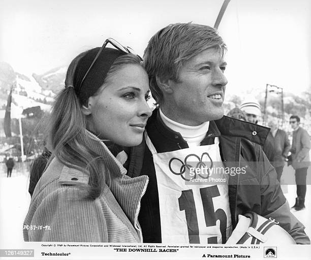 Camilla Sparv and Robert Redford on the slopes in a scene from the film 'The Downhill Racer' 1969
