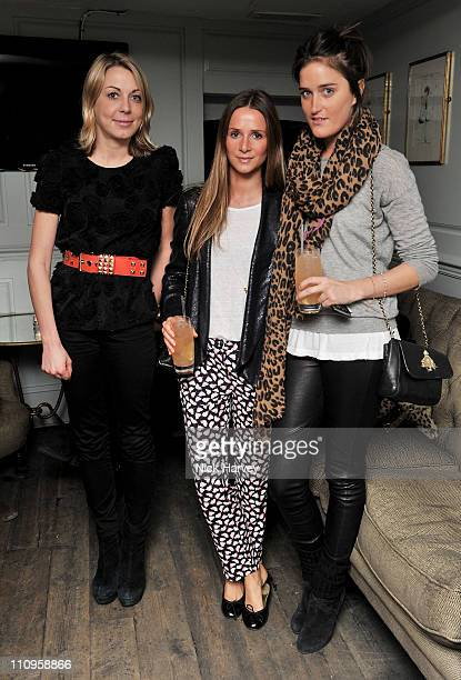 Camilla Stopford Sackville Amanda Crossley and Violet von Westenholz attend a party hosted by Thakoon Poppy Delevingne and Mary Charteris at Soho...