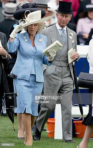 Camilla The Duchess of Cornwall and Prince Charles The Prince of Wales attend the first day of Royal Ascot 2005 at York Racecourse on June 14, 2005...