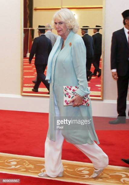 Camilla The Duchess of Cornwall arrives at Istana Negara to visit His Majesty The Yang diPertuan Agong XV Sultan Muhammad V on November 3 2017 in...