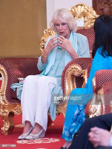 Camilla The Duchess of Cornwall at Istana Negara to visit His Majesty The Yang diPertuan Agong XV Sultan Muhammad V on November 3 2017 in Kuala...