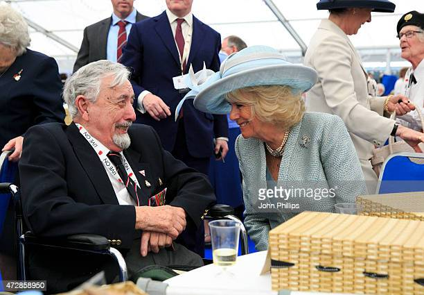 Camilla the Duchess of Cornwall attends an afternoon tea reception hosted by The Royal British Legion in honour of the veterans attending the 70th...