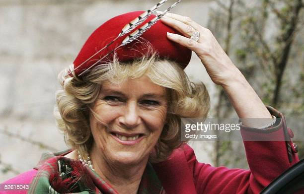 Camilla, the Duchess Of Cornwall, attends Sunday church service on the first day of her honeymoon, at Crathie Church, Balmoral on April 10, 2005 in...