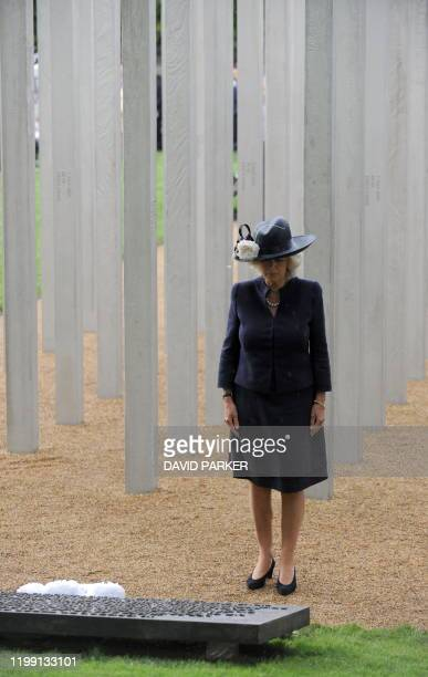 Camilla The Duchess of Cornwall attends the dedication of the London Bombing Memorial for the victims of the city's 2005 suicide bombings in Hyde...