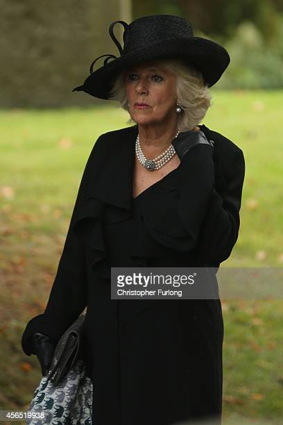 Camilla The Duchess of Cornwall attends the funeral of Deborah Dowager Duchess of Devonshire at St Peters Church Edensor on October 2 2014 in...