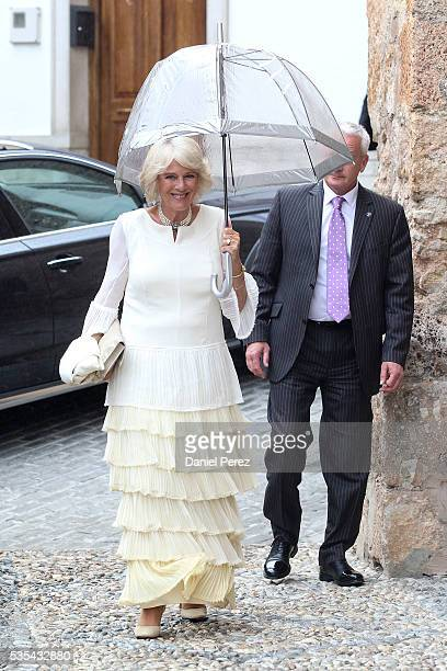 Camilla, The Duchess of Cornwall, attends the wedding of Lady Charlotte Wellesley and Alejandro Santo Domingo at Illora on May 28, 2016 in Granada,...