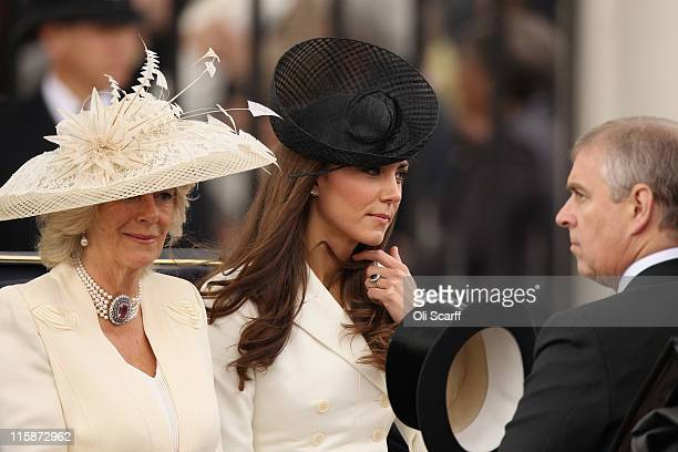 Camilla the Duchess of Cornwall Catherine the Duchess of Cambridge and Prince Andrew travel by horsedrawn carriage to Horse Guards Parade to take...