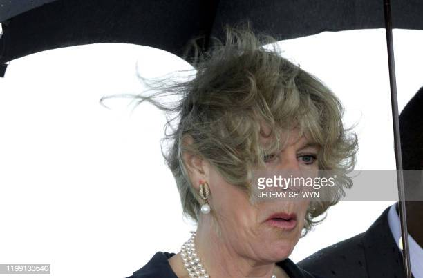 Camilla, the Duchess of Cornwall has her hair blown during a dedication ceremony with Prince Charles at a sports pavillion in Regent's Park in London...