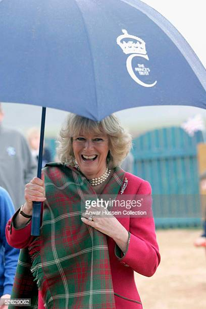 Camilla the Duchess of Cornwall in her role as the Duchess of Rothesay take time out from her honeymoon at Birkhall on the Queen's Aberdeenshire...