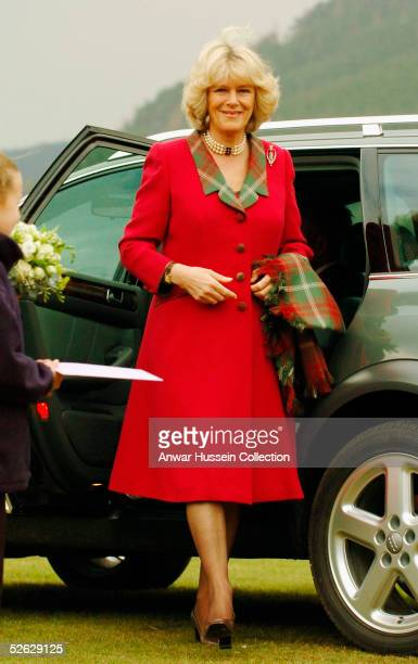Camilla the Duchess of Cornwall in her role as the Duchess of Rothesay takes time out from her honeymoon at Birkhall on the Queen's Aberdeenshire...