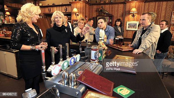 Camilla, The Duchess of Cornwall meets actors Beverley Callard, who plays landlady Liz McDonald , Anne Kirkbride, who plays the role of Deirdre...