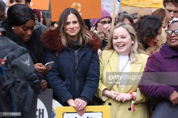 Camilla Thurlow and Nicola Coughlan during the #March4Women 2020 rally at Southbank Centre on March 08 2020 in London England The event is to mark...