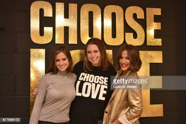 Camilla Thurlow Josie Naughton and Caroline Flack attend the launch of the Help Refugees 'Choose Love' popup shop on November 23 2017 in London...