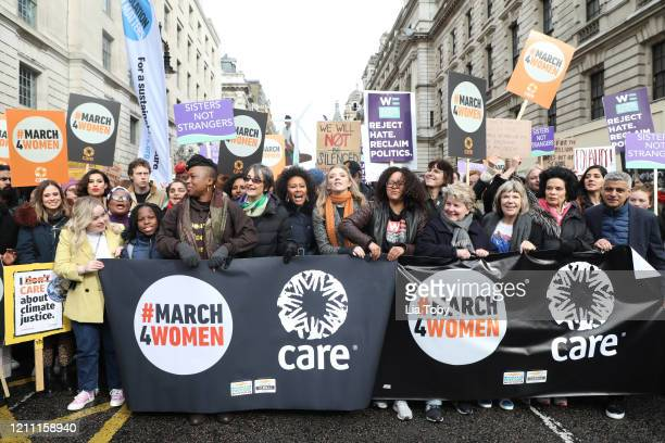 Camilla Thurlow Nicola Coughlan Raye George MacKay Emeli Sande Natalie Dormer Sandi Toksvig Bianca Jagger Sadiq Khan during the #March4Women 2020...