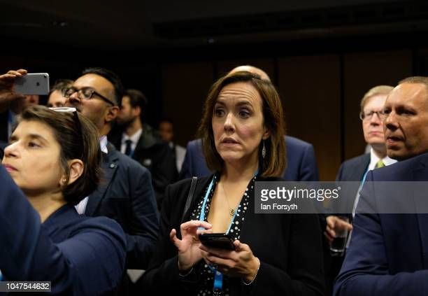 Camilla Tominey Associate Editor Politics and Royals at the Telegraph listens during a Fringe meeting hosted by the Policy Exchange on day two of the...