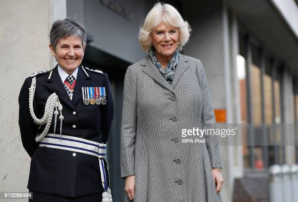 CamillaDuchess of Cornwallis accompanied by Metropolitan Police Commissioner Cressida Dick as she visits the Metropolitan Police Service Base to...