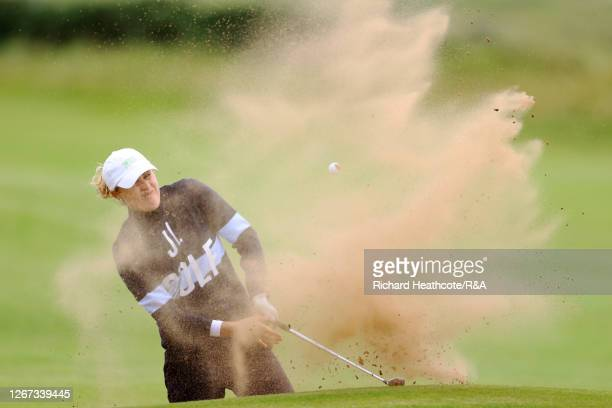 CamillaLennarth of Sweden plays a shot out of the bunker on the 16th hole during Day One of the 2020 AIG Women's Open at Royal Troon on August 20,...