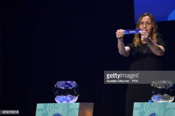 Camille Abily announces countries during the official draw for the FIFA U20 Women's World Cup France 2018 on March 8 2018 in Rennes France