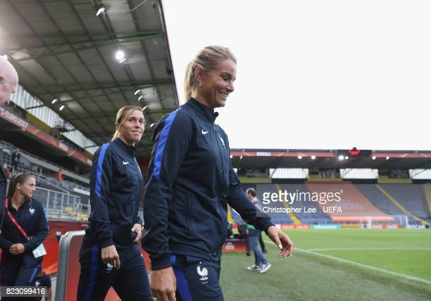 Camille Abily of France and Amandine Henry of France arrive during the UEFA Women's Euro 2017 Group C match between Switzerland and France at Rat...