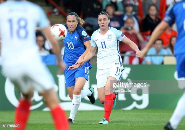 Camille Abily of France and Jade Moore of England during the UEFA Women's Euro 2017 quarter final match between England and France at Stadion De...