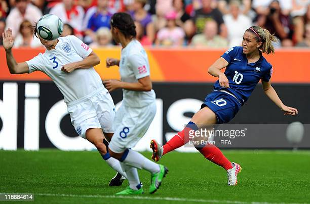 Camille Abily of France shoots on goal during the FIFA Women's World Cup 2011 Quarter Final match between England and France at the FIFA Women's...