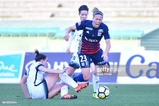 Camille Abily of Lyon and Charlotte Bilbault of Paris FC during the Division 1 match between Paris FC and Lyon on January 14 2018 in Evry Bondoufle...