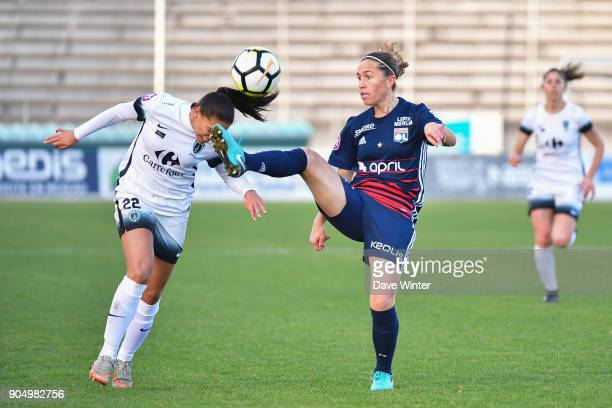 Camille Abily of Lyon and Djeidje Kore of Paris FC during the Division 1 match between Paris FC and Lyon on January 14 2018 in Evry Bondoufle France