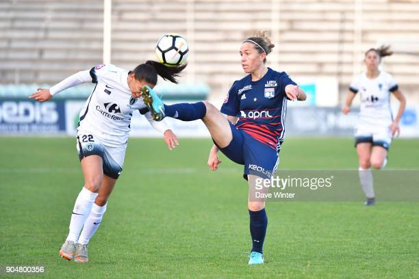 Camille Abily of Lyon and Estelle Cascarino of Paris FC during the Division 1 match between Paris FC and Lyon on January 14 2018 in Evry Bondoufle...
