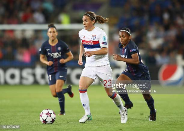Camille Abily of Olympique Lyonnais makes a break during the UEFA Women's Champions League Final between Lyon and Paris Saint Germain at Cardiff City...