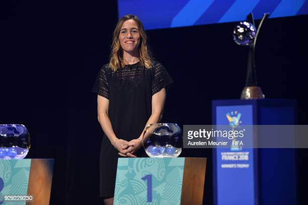 Camille Abily waits for the beginning of the official draw for the FIFA U20 Women's World Cup France 2018 on March 8 2018 in Rennes France
