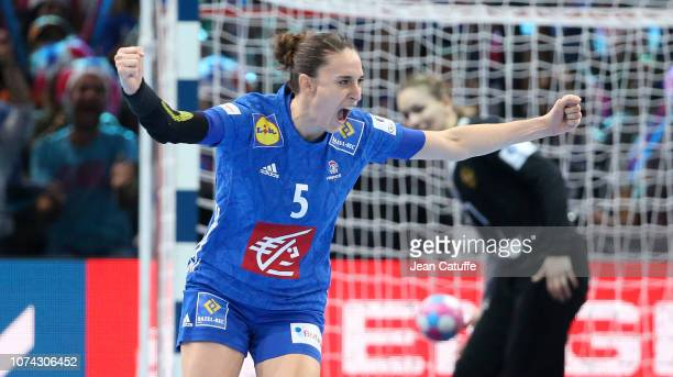 Camille Ayglon Saurina of France celebrates her goal during the EHF Women's Euro 2018 Final match between Russia and France at AccorHotels Arena on...