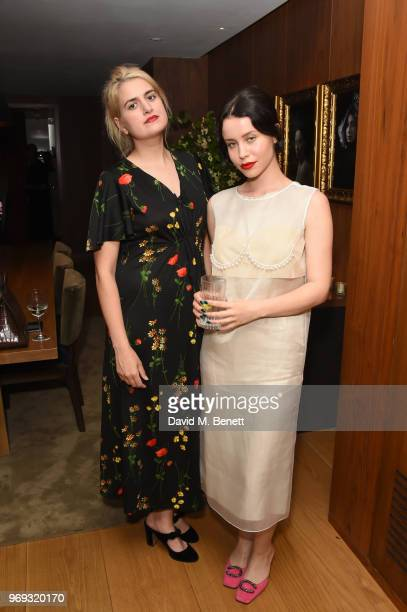 Camille Benett and Billie JD Porter attend the launch of Mytheresacom's magazine The Album at The London EDITION on June 7 2018 in London England