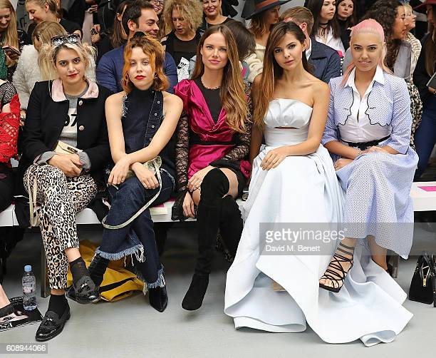 Camille Benett Billie JD Porter Alicia Rountree Doina Ciobanu and Amber Le Bon attend the Emilio De La Morena show during London Fashion Week...
