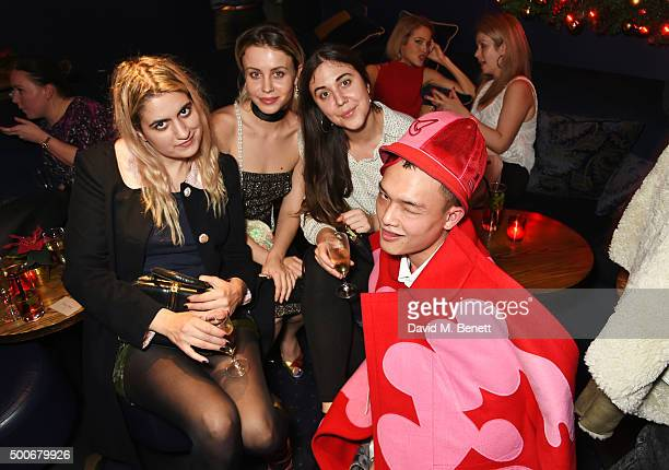Camille Benett Billie JD Porter Lucy Porter and Adam Chen attend the Sunday Times Style Christmas Party at Tramp on December 9 2015 in London England