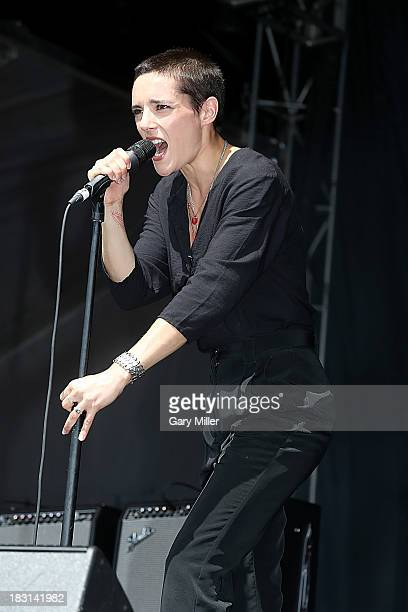 Camille Berthomier aka Jehnny Beth of the band Savages performs on Day 1 of Austin City Limits Music Festival at Zilker Park on October 4, 2013 in...