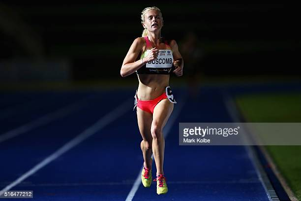 Camille Buscomb of New Zealand wins the women's 5000 metre open race during the 2016 Sydney Track Classic at Sydney Olympic Park Sports Centre on...