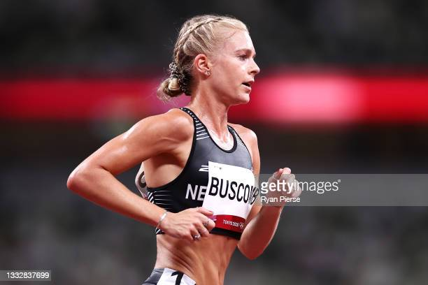 Camille Buscomb of Team New Zealand competes in the Women's 10,000m Final on day fifteen of the Tokyo 2020 Olympic Games at Olympic Stadium on August...