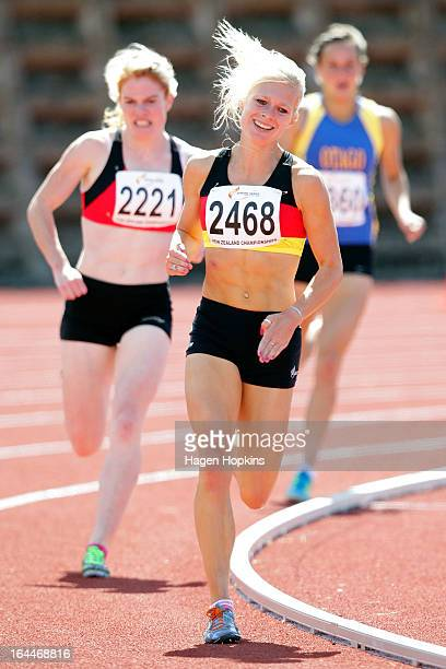 Camille Buscomb of Waikato/Bay of Plenty races in the senior women's 1500m final during the New Zealand Track and Field Championships at Mt Smart...