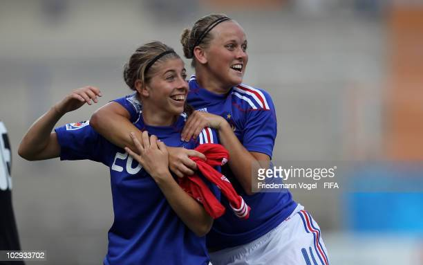 Camille Catala and Fanny Tenret of France celebrates after winning the FIFA U20 Women's World Cup Group A match between Costa Rica and France at the...