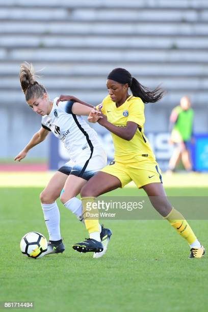 Camille Catala of Paris FC and Grace Geyoro of PSG during the women's Division 1 match between Paris FC and Paris Saint Germain on October 15 2017 in...