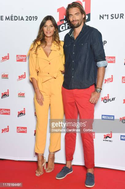 Camille Cerf and Camille Lacourt attend the NRJ's Press Conference to Announce Their Schedule For 2019/2020 at Folies Bergere, on September 16, 2019...