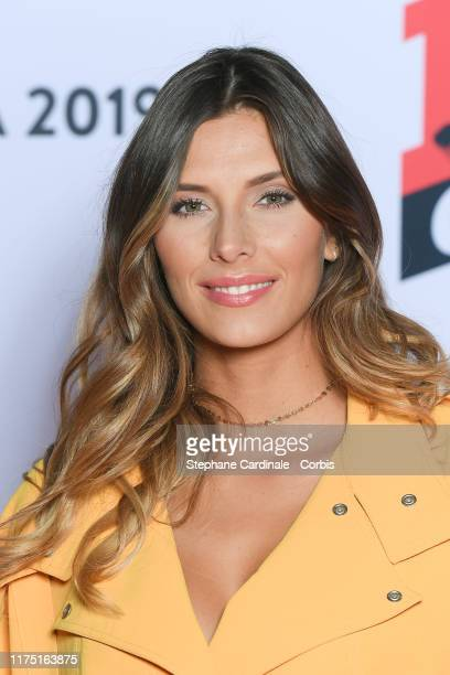 Camille Cerf attends the NRJ's Press Conference to Announce Their Schedule For 2019/2020 at Folies Bergere, on September 16, 2019 in Paris, France.
