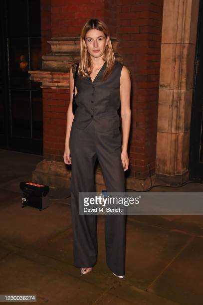 """Camille Charriere attends a private view of The V&A's new exhibition """"Bags: Inside Out"""" sponsored by Mulberry at The V&A on December 9, 2020 in..."""